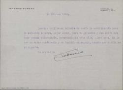 Carta de Federico Romero a Guillermo Fernández-Shaw, enviándole una autorización para la señorita Alberca. Se adjunta dicha autorización.