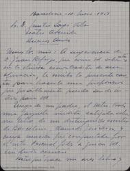 Carta de José Vives Giner a Luis Sagi-Vela, proponiéndole participar en un proyecto de renovación y estreno de una zarzuela inédita de su padre, Amadeo Vives, en colaboración con Guillermo y Rafael Fernández-Shaw.