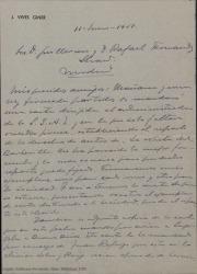"""Carta de José Vives Giner a Guillermo y Rafael Fernández-Shaw, anunciándoles el envío de un contrato en relación con el reparto de los derechos de autor de """"La vuelta del barberillo"""" para que lo firmen."""