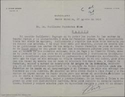 Carta de José Vives Giner a Guillermo Fernández-Shaw, criticando duramente la actitud de Federico Romero en cierto asunto en concreto y en su actividad profesional en general.