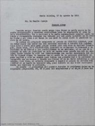 """Copia de carta de José Vives Giner a Benito Perojo, hablando del rodaje de """"Doña Francisquita"""", de las condiciones económicas y expresando su deseo de que sea éste quien lleve a cabo el proyecto."""