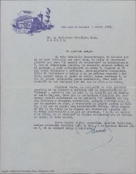 Carta de Eduardo Aunós a Guillermo Fernández-Shaw, diciéndole lo mucho que le ha gustado un libreto que le ha enviado y haciendo comentarios referentes a futuras colaboraciones a la vuelta del verano.