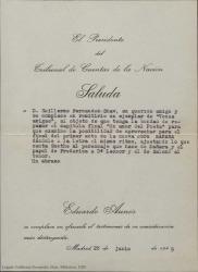 Carta de Eduardo Aunós a Guillermo Fernández-Shaw, enviándole una ejemplar de un libro por si le da ideas para la obra en la que están trabajando.