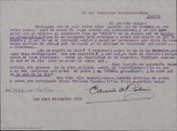Carta de Eduardo del Palacio Fontán a Guillermo Fernández-Shaw, preguntándole por un argumento de un ensayo de película que le envió hace tiempo y que le gustaría recuperar.