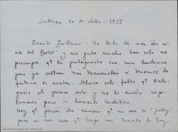 """Carta de Ernesto Rosillo a Guillermo Fernández-Shaw, comentándole que ha leído """"La reina del Ballet"""", que le ha gustado mucho y que espera recibir pronto el primer acto para empezar a trabajar en él."""