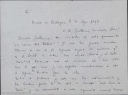 """Carta de Ernesto Rosillo a Guillermo Fernández-Shaw, acusando recibo del primer acto de """"La reina del Ballet"""" y comentando los avances en su trabajo."""