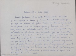 "Carta de Ernesto Rosillo a Guillermo Fernández-Shaw, hablando sobre ""Fray Martín""."
