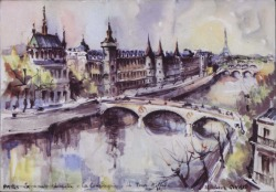 Tarjeta postal de Ernesto Lecuona a Guillermo Fernández-Shaw, saludándole cariñosamente desde París.