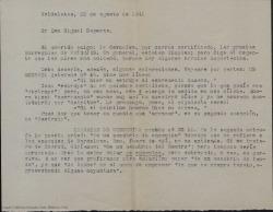 """Carta de Guillermo Fernández-Shaw a Miquel Saperas, enviándole las pruebas corregidas de """"Paisajes"""" y haciendo algunas puntualizaciones."""
