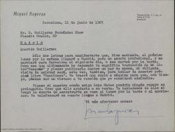 """Carta de Miquel Saperas a Guillermo Fernández-Shaw, esperando poder verle en su próxima visita a Madrid y tener ocasión de hablar entonces de """"Canciones"""", su última colaboración."""