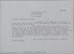 """Copia de carta de Guillermo Fernández-Shaw a Lope Mateo, agradeciéndole en su nombre y en el de Miquel Saperas que haya aceptado prologar """"Canciones"""", su último libro en colaboración."""