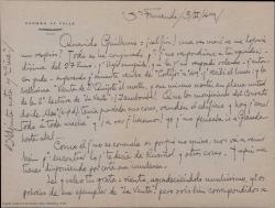 Carta de Germán de Falla a Guillermo Fernández-Shaw, comentando varios temas teatrales comunes y asuntos personales, entre ellos, la noticia de la muerte de Joaquín Turina.