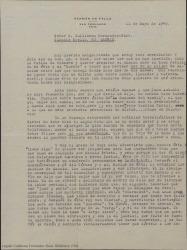 Carta de Germán de Falla a Guillermo Fernández-Shaw, consultándole dudas sobre el funcionamiento de la Sociedad General de Autores de España, comentando las dificultades de manejar todos los temas administrativos relacionados con las obras de Manuel de Falla.