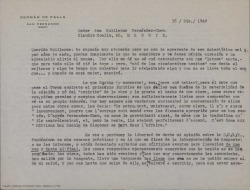 """Carta de Germán de Falla a Guillermo Fernández-Shaw, hablando sobre problemas con Eschig por la edición danesa de """"la vida breve"""" y sobre otras cuestiones relacionadas con esta obra como los convenios y acuerdos sobre los discos de la misma."""