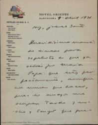 Carta de Guillermo Fernández-Shaw desde Barcelona, a su madre Cecilia Iturralde, diciendo que está bien y que tiene mucho trabajo pero que hay tranquilidad completa al menos aparente, que no se preocupe.