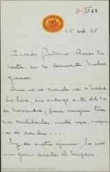 """Carta de Juan Martínez Penas a Guillermo Fernández-Shaw y Federico Romero, expresando su deseo de estrenar en el Teatro Tívoli """"Luna de mayo"""" y """"Siete colores"""" al inicio de la temporada."""