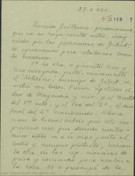 Carta de Jose Luis Lloret a Guillermo Fernández-Shaw contándole el éxito de la obra con él como primera figura y quejándose de la mala conducta del empresario Gibert [?].
