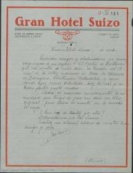"""Carta de Jose Luis Lloret a Guillermo Fernández-Shaw y colaboradores diciendo que ha empezado a ensayar """"El festín de Baltasar"""" y que está teniendo mucho éxito con """"La canción del olvido"""" en su gira."""