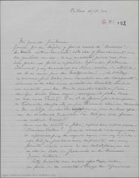 """Carta de Pierre de Vignier a Guillermo Fernández-Shaw, diciéndole que ha leído """"Hymeneo"""" y que cree que gustará mucho al público español y preguntando por """"Bolero""""."""