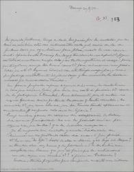"""Carta de Pierre de Vignier a Guillermo Fernández-Shaw, diciéndole que tiene ganas de conocer la adaptación de """"Bolero"""" y contándole que ha empezado a trabajar en la traducción de Hymeneo, que le gusta mucho."""
