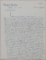 """Carta de Pierre de Vignier a Guillermo Fernández-Shaw, contándole que Enrique Rambal tiene en proyecto representar """"Sexto piso"""" en Madrid en septiembre según le comentó en una entrevista."""
