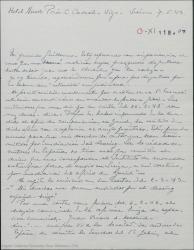 """Carta de Pierre de Vignier a Guillermo Fernández-Shaw, comentando el reparto de derechos de """"Sexto piso"""" y la forma de hacerle llegar el dinero correspondiente a Gehri. Agradece que le reserven a él una participación en los derechos."""