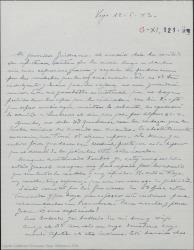 """Carta de Pierre de Vignier a Guillermo Fernández-Shaw, pidiéndole que le envíe un dinero, sintiendo que las funciones de """"Sexto piso"""" se hayan acabado y esperando se reanuden en Barcelona."""