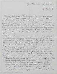 """Carta de Pierre de Vignier a Guillermo Fernández-Shaw, acusando recibo del dinero que le ha enviado y diciéndole que no va a contar a Alfred Gehri que el público de Madrid no entendió """"Sexto piso""""."""