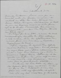 Carta de Pierre de Vignier a Guillermo Fernández-Shaw, quejándose de las dificultades de los negocios teatrales e interesándose por su salud.