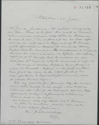 """Carta de Pierre de Vignier a Guillermo Fernández-Shaw, transmitiéndole las instrucciones de Alfred Gehri para que le remitan sus derechos por """"Sexto piso"""" a un banco en Suiza."""