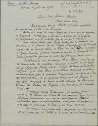 """Carta de André de Badet a Federico Romero, presentándose como colaborador de René Blum e interesándose por traducir al francés """"Doña Francisquita""""."""