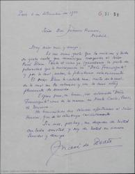 "Carta de André de Badet a Federico Romero, acusando recibo de su carta cuyo contenido comunicó a René Blum y esperando ver en breve representada ""Doña Francisquita"" en teatros de París, Montecarlo..."