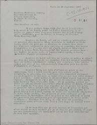 """Carta de Marcel Henrion a Federico Romero, diciéndole que André Badet quiere tratar de los derechos de adaptación de """"Doña Francisquita"""" al francés, creyendo que la combinación Badet-Blum es una garantía para explotar la obra."""