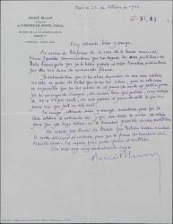 """Carta de René Blum a Federico Romero, comunicándole que le han llegado las partituras de """"Doña Francisquita"""", pidiendo que la casa editora haga una rebaja."""