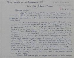 """Carta de André de Badet a Federico Romero, diciéndole que ha oído con René Blum los discos de """"Luisa Fernanda"""", que espera se represente en Francia pronto, ya que cree que """"Doña Francisquita"""" ha abierto las puertas a las obras españolas."""