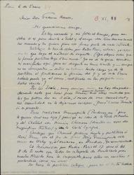 """Carta de André de Badet a Federico Romero, diciéndole que llegó el material de orquesta que necesitaba y que """"Doña Francisquita"""" será retransmitida por Radio-París, queriendo que su audición sea captada por varios paises."""