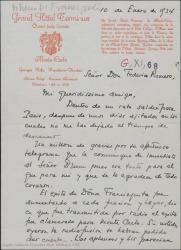 """Carta de André de Badet a Federico Romero, hablándole del éxito de """"Doña Francisquita"""" en Montecarlo."""