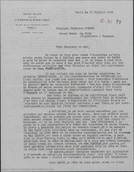 """Carta de René Blum a Federico Romero, diciéndole que """"Doña Francisquita"""" en Bruselas no ha estado bien y que para París quisiera una realización perfecta, pudiendo encontrar tal vez en España el capital necesario para la explotación de la obra."""