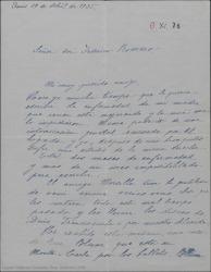 """Carta de André de Badet a Federico Romero diciéndole que ha tenido noticias de René Blum, preguntándole si estarían dispuestos a ayudar financieramente para poner """"Doña Francisquita"""" en París, según manifestaron en otra ocasión."""