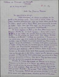 """Carta de André de Badet a Federico Romero hablándole del estreno en París de """"Doña Francisquita"""" y de las condiciones."""