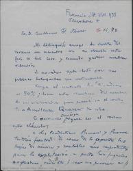 """Carta de Gilberto Beccari a Guillermo Fernández-Shaw, diciéndole que le envíe el contrato de """"Las alondras"""", dándole el nombre de su colaborador para que figure en el mismo."""