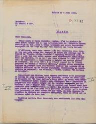 """Carta de Guillermo Fernández-Shaw a W. Bessel, contestando a una carta suya, comentando las circunstancias en las que se ha hecho la traducción al español de """"Tsar Saltan"""" y hablando de condiciones de derechos y otros temas relacionados."""