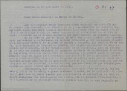 """Carta del Conde de Vignier y Guillermo Fernández-Shaw a la Legación de Suiza en España, solicitando ayuda para ponerse en contacto con Alfred Gehri, de nacionalidad suiza, para tratar la posible autorización para el estreno en español de """"VI Étage""""."""