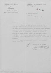 """Carta de la Legación Suiza en España al Conde de Vignier, comunicándole las señas del señor Gehri al que se le ha informado de su deseo de obtener el contrato de """"Sixième étage""""."""