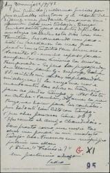 Tarjeta postal de Pierre de Vignier a Guillermo Fernández-Shaw, diciéndole que le envíe las obras a traducir y preguntando que tiene que hacer para los contratos.