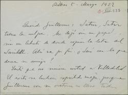 Carta de Jesús Guridi a Guillermo Fernández-Shaw, enviándole la letra de Sasibill para un amigo suyo y sintiendo que no estuviera en Valladolid para repartirse los aplausos del éxito.