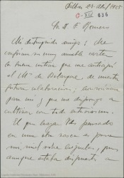 """Carta de Jesús Guridi a Federico Romero, honradísimo en colaborar con ellos en """"El caserío"""", una obra con ambiente vasco."""