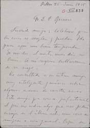 Carta de Jesús Guridi a Federico Romero, diciéndole que se va a París y dando ideas y sugerencias para la nueva obra.