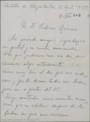 Carta de Jesús Guridi a Federico Romero, agradeciéndole su postal anunciando su visita al País Vasco.