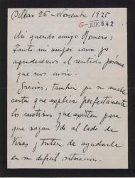 Carta de Jesús Guridi a Federico Romero, agradeciéndole el pésame y sintiendo no poder estrenar la obra este año ya que tiene ganas de saber como le va a ir en este nuevo género.